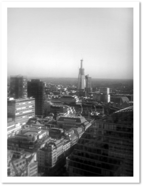 City of London (Shard being built), from Macquarie, Moorgate, London