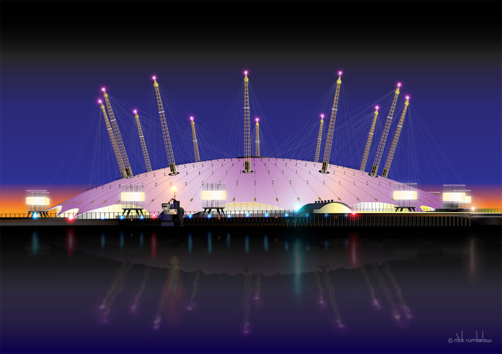 London O2 Arena by Night by Nick Rumbelow